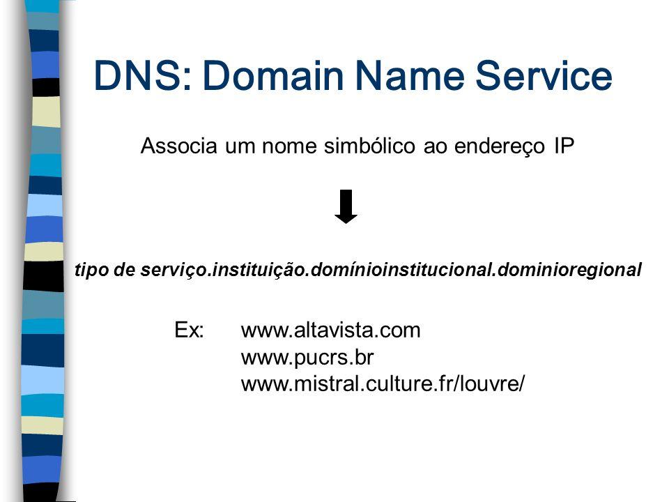 DNS: Domain Name Service Associa um nome simbólico ao endereço IP tipo de serviço.instituição.domínioinstitucional.dominioregional Ex: www.altavista.c
