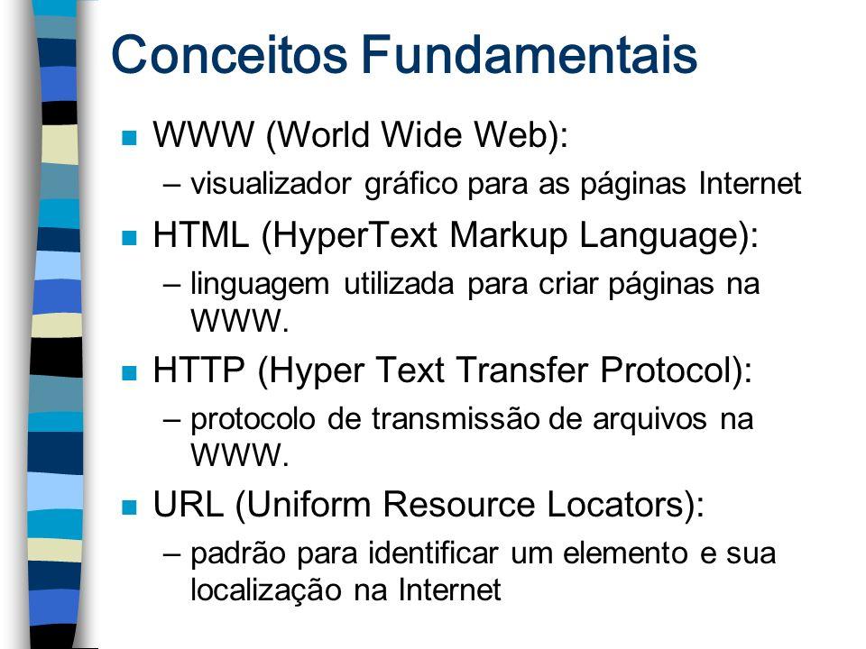 Conceitos Fundamentais n WWW (World Wide Web): –visualizador gráfico para as páginas Internet n HTML (HyperText Markup Language): –linguagem utilizada