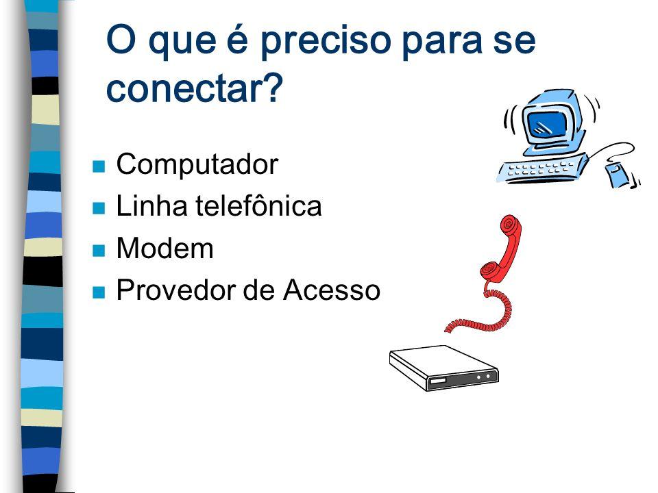 O que é preciso para se conectar? n Computador n Linha telefônica n Modem n Provedor de Acesso