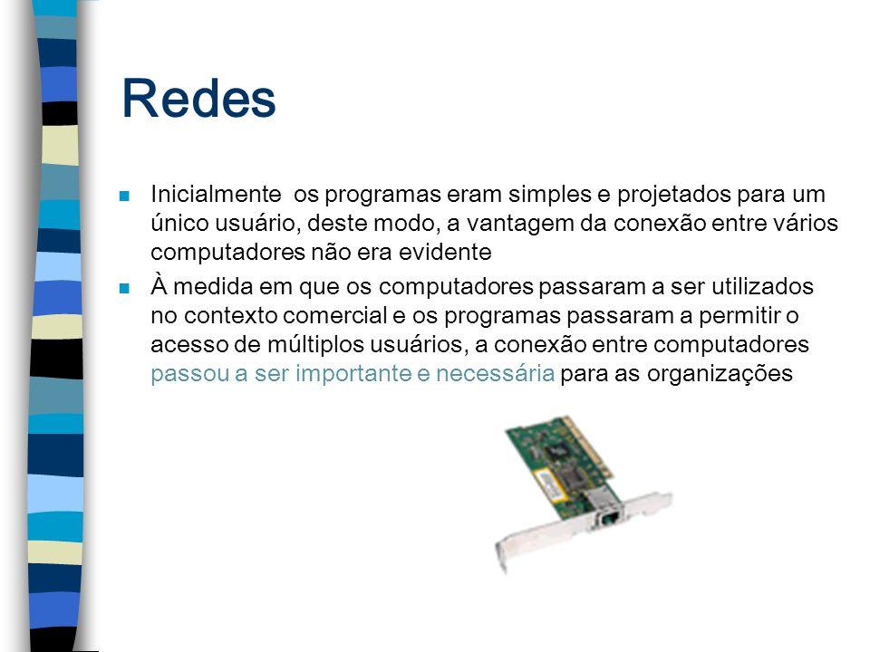 Redes n Inicialmente os programas eram simples e projetados para um único usuário, deste modo, a vantagem da conexão entre vários computadores não era