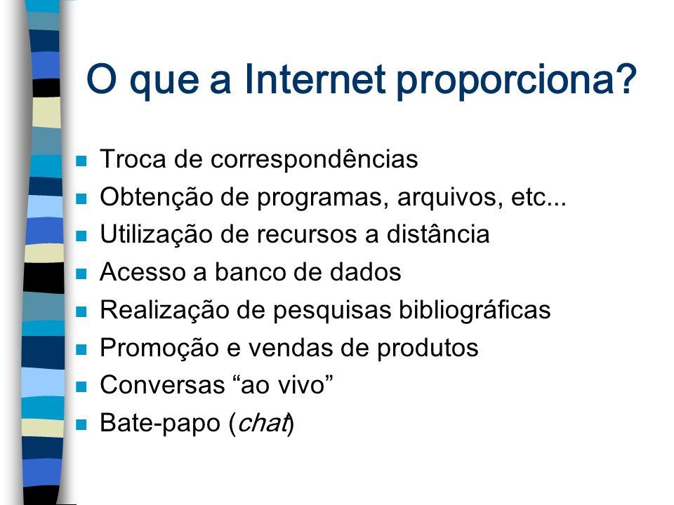 O que a Internet proporciona? n Troca de correspondências n Obtenção de programas, arquivos, etc... n Utilização de recursos a distância n Acesso a ba