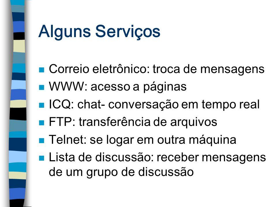 Alguns Serviços n Correio eletrônico: troca de mensagens n WWW: acesso a páginas n ICQ: chat- conversação em tempo real n FTP: transferência de arquiv