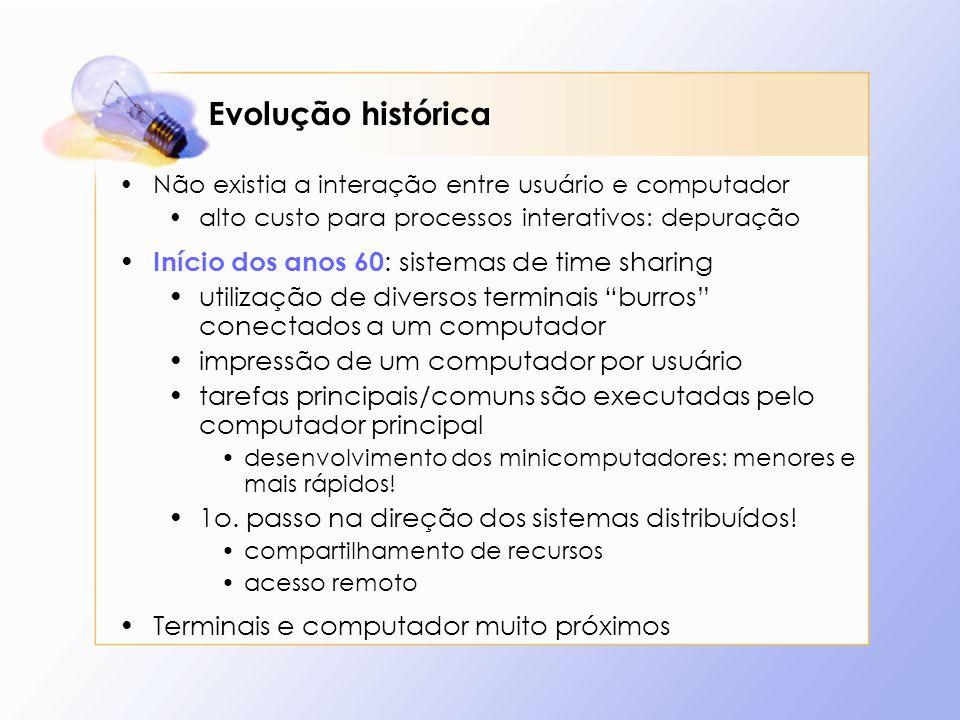 Evolução histórica Não existia a interação entre usuário e computador alto custo para processos interativos: depuração Início dos anos 60 : sistemas d