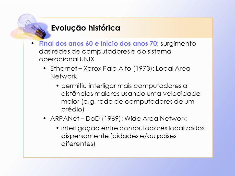 Evolução histórica Final dos anos 60 e início dos anos 70 : surgimento das redes de computadores e do sistema operacional UNIX Ethernet – Xerox Palo A