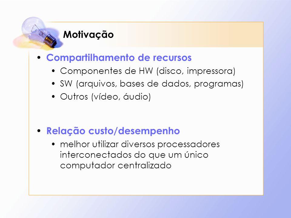 Motivação Compartilhamento de recursos Componentes de HW (disco, impressora) SW (arquivos, bases de dados, programas) Outros (vídeo, áudio) Relação cu