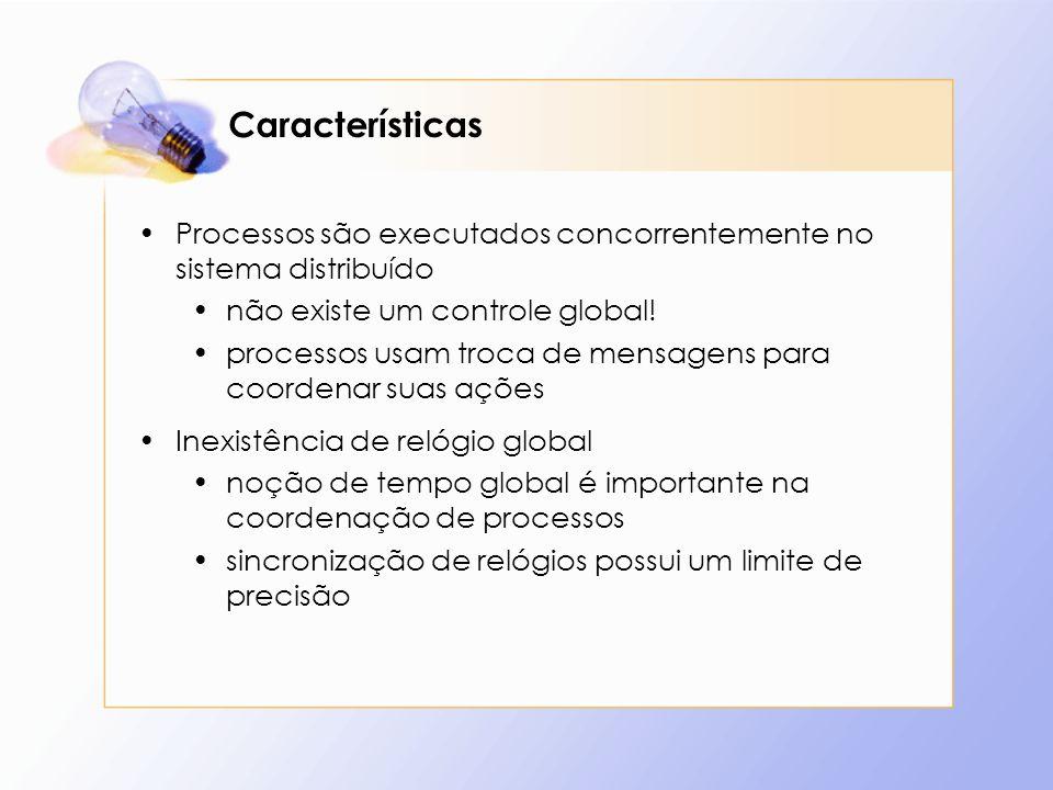 Características Processos são executados concorrentemente no sistema distribuído não existe um controle global! processos usam troca de mensagens para