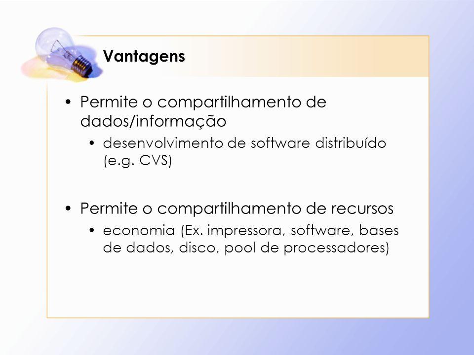 Vantagens Permite o compartilhamento de dados/informação desenvolvimento de software distribuído (e.g. CVS) Permite o compartilhamento de recursos eco
