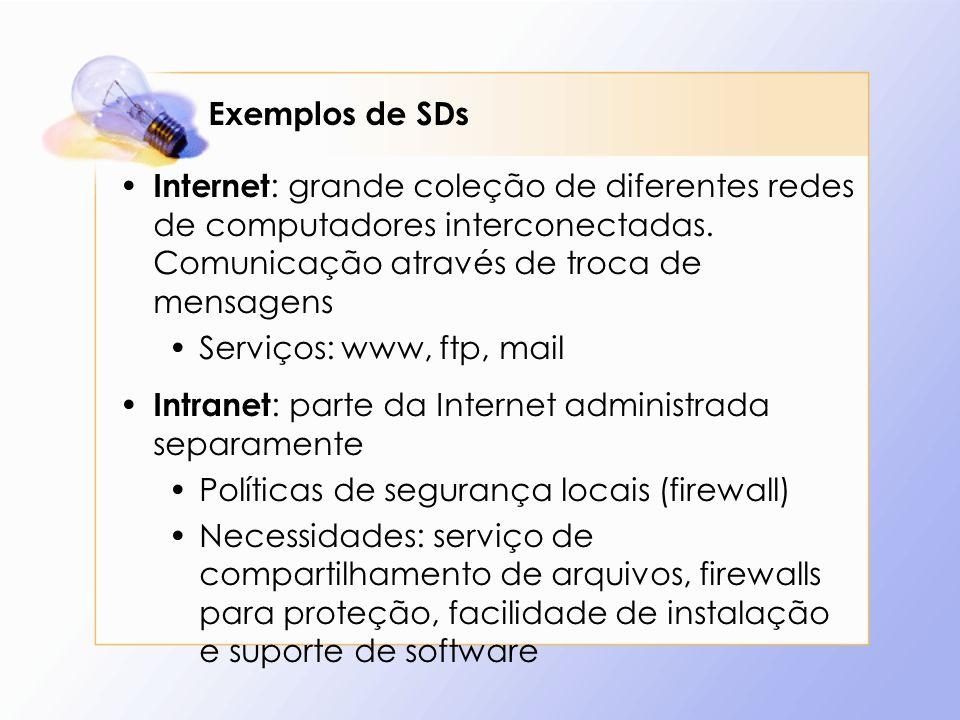 Exemplos de SDs Internet : grande coleção de diferentes redes de computadores interconectadas. Comunicação através de troca de mensagens Serviços: www
