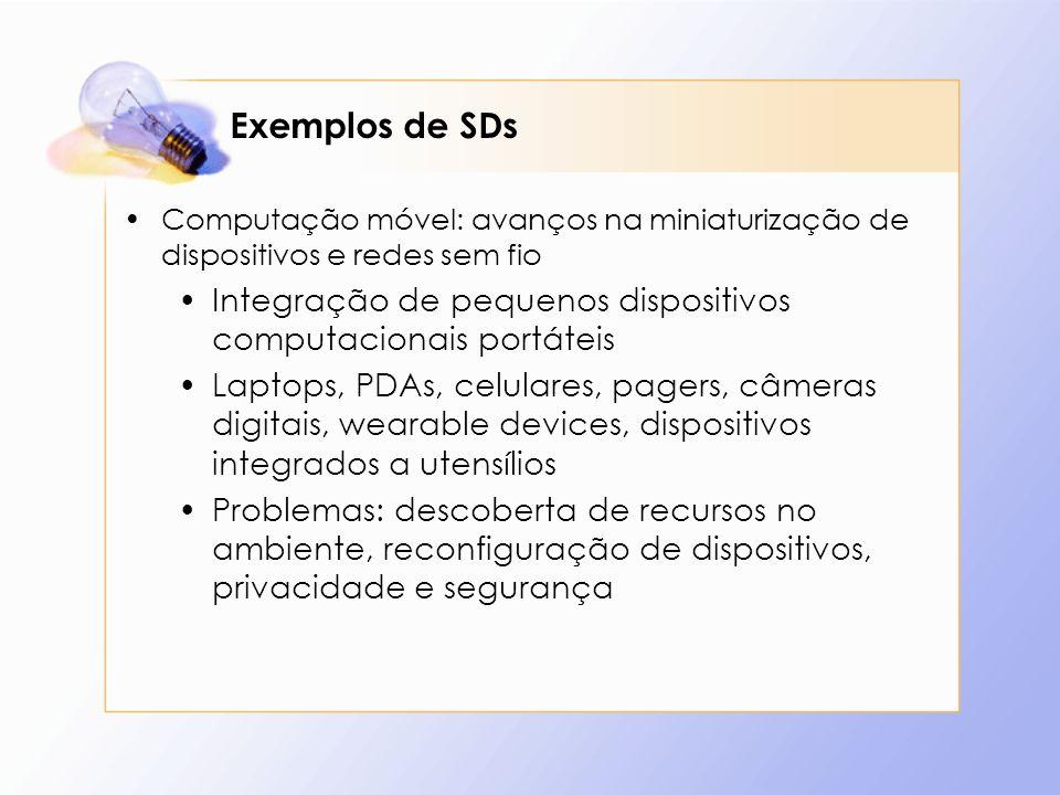 Exemplos de SDs Computação móvel: avanços na miniaturização de dispositivos e redes sem fio Integração de pequenos dispositivos computacionais portáte