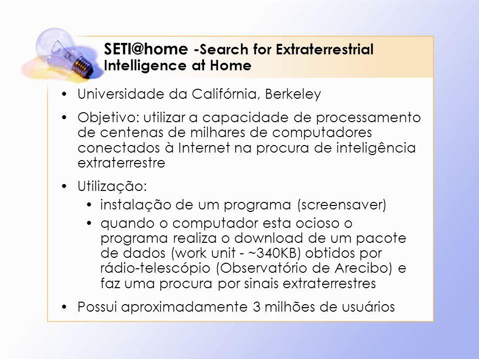 SETI@home - Search for Extraterrestrial Intelligence at Home Universidade da Califórnia, Berkeley Objetivo: utilizar a capacidade de processamento de