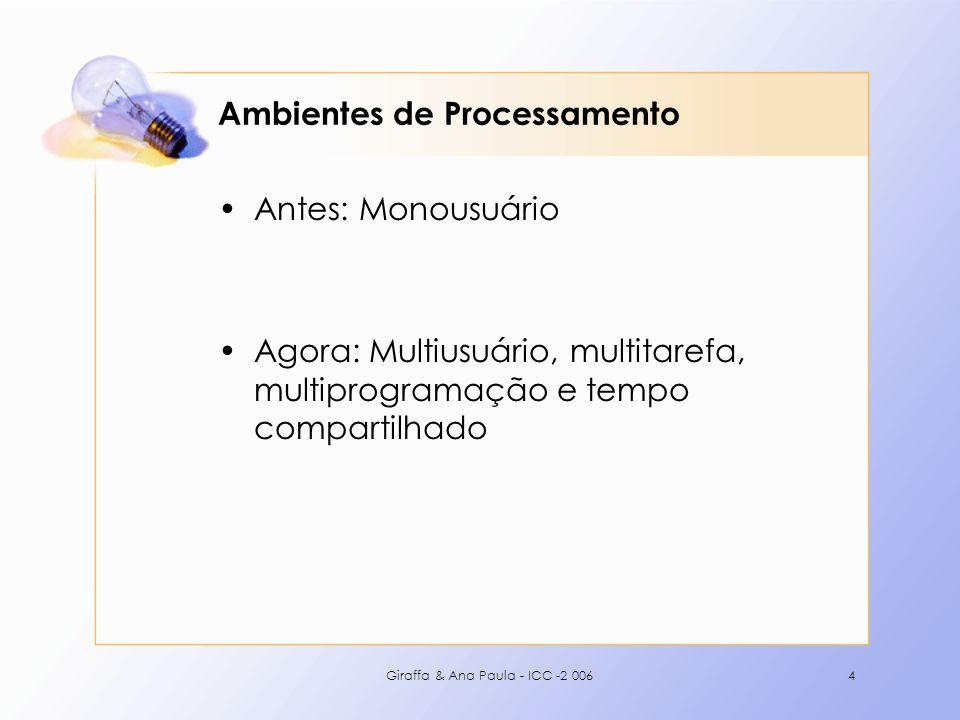 Giraffa & Ana Paula - ICC -2 0065 Monousuário Apenas um usuário está processando informação Não há ocorrência de processos e o processamento seqüencial ocorre de forma natural Ex: Processamento em Batch