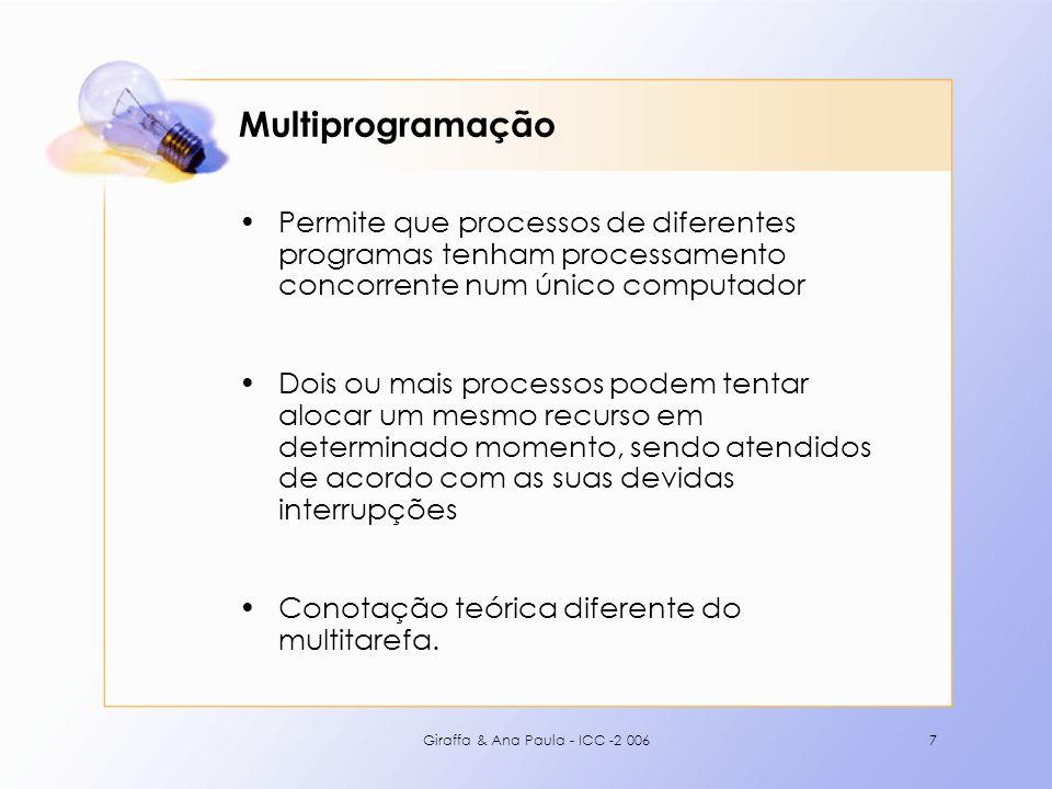 Giraffa & Ana Paula - ICC -2 0067 Multiprogramação Permite que processos de diferentes programas tenham processamento concorrente num único computador