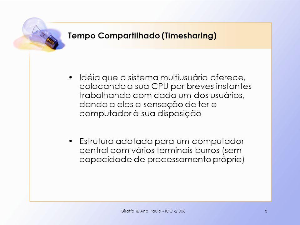 Giraffa & Ana Paula - ICC -2 0068 Tempo Compartilhado (Timesharing) Idéia que o sistema multiusuário oferece, colocando a sua CPU por breves instantes