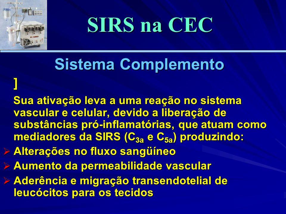 Sistema Complemento ] Sua ativação leva a uma reação no sistema vascular e celular, devido a liberação de substâncias pró-inflamatórias, que atuam como mediadores da SIRS (C 3a e C 5a ) produzindo: Sua ativação leva a uma reação no sistema vascular e celular, devido a liberação de substâncias pró-inflamatórias, que atuam como mediadores da SIRS (C 3a e C 5a ) produzindo: Alterações no fluxo sangüíneo Alterações no fluxo sangüíneo Aumento da permeabilidade vascular Aumento da permeabilidade vascular Aderência e migração transendotelial de leucócitos para os tecidos Aderência e migração transendotelial de leucócitos para os tecidos SIRS na CEC