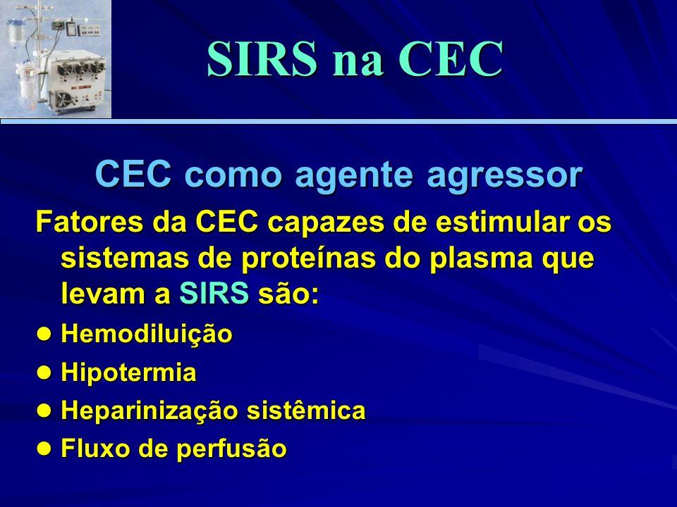 CEC como agente agressor Fatores da CEC capazes de estimular os sistemas de proteínas do plasma que levam a SIRS são: Hemodiluição Hemodiluição Hipotermia Hipotermia Heparinização sistêmica Heparinização sistêmica Fluxo de perfusão Fluxo de perfusão SIRS na CEC