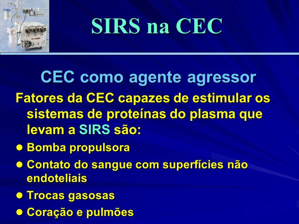 CEC como agente agressor Fatores da CEC capazes de estimular os sistemas de proteínas do plasma que levam a SIRS são: Bomba propulsora Bomba propulsor