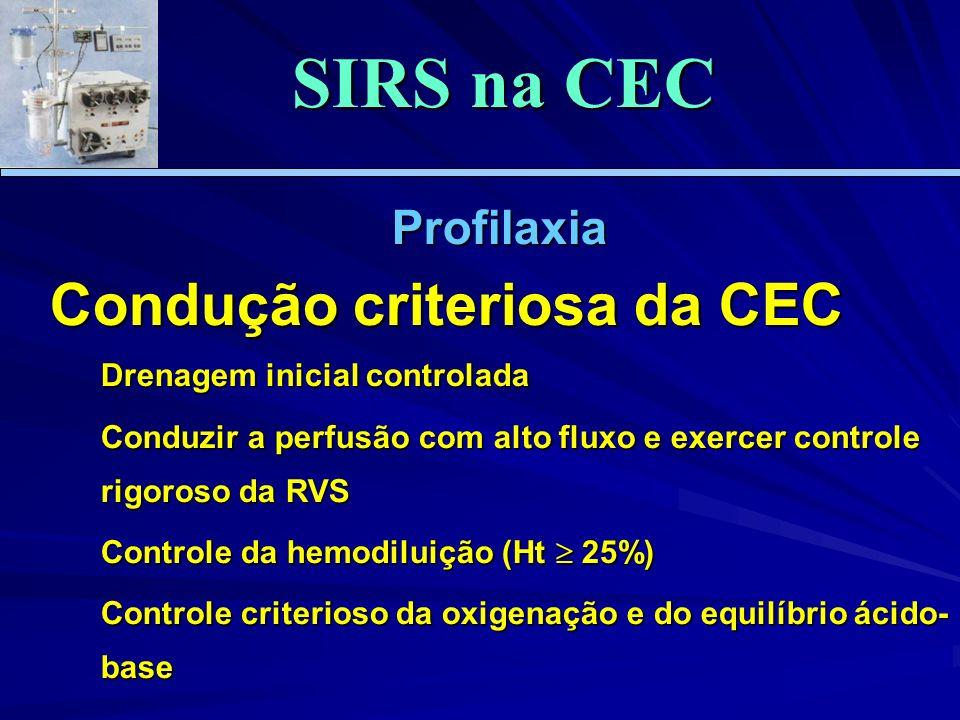 Profilaxia Condução criteriosa da CEC Drenagem inicial controlada Conduzir a perfusão com alto fluxo e exercer controle rigoroso da RVS Controle da hemodiluição (Ht 25%) Controle criterioso da oxigenação e do equilíbrio ácido- base SIRS na CEC