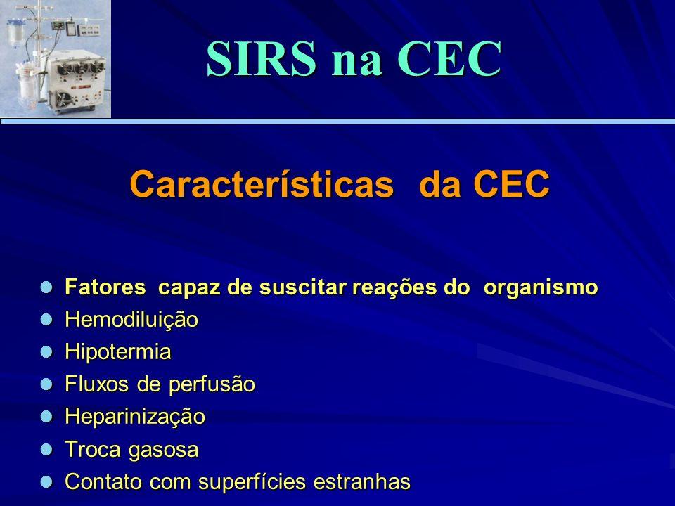 Características da CEC Fatores capaz de suscitar reações do organismo Fatores capaz de suscitar reações do organismo Hemodiluição Hemodiluição Hipoter