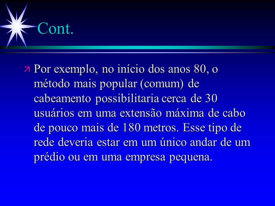 Cont. ä Por exemplo, no início dos anos 80, o método mais popular (comum) de cabeamento possibilitaria cerca de 30 usuários em uma extensão máxima de
