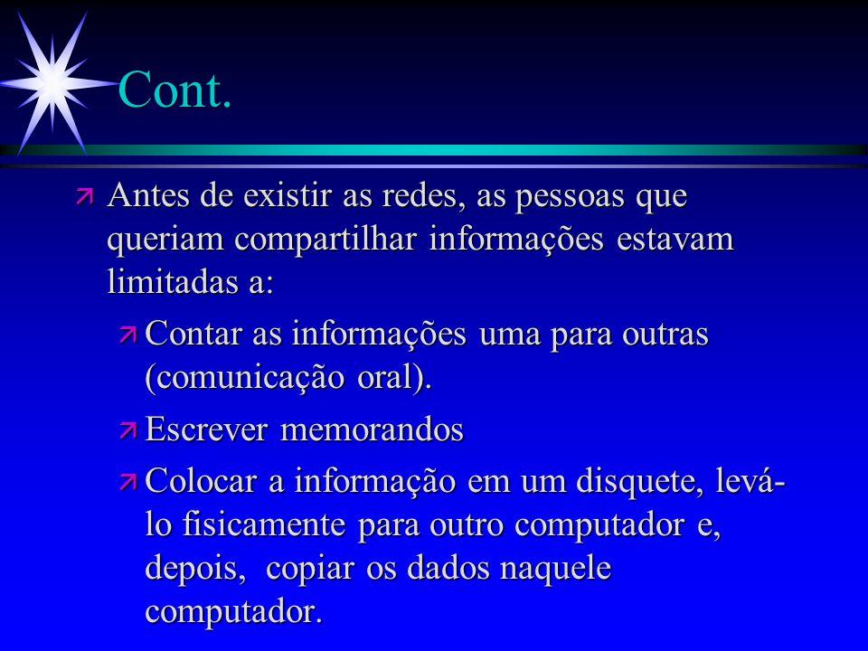 Cont. ä Antes de existir as redes, as pessoas que queriam compartilhar informações estavam limitadas a: ä Contar as informações uma para outras (comun