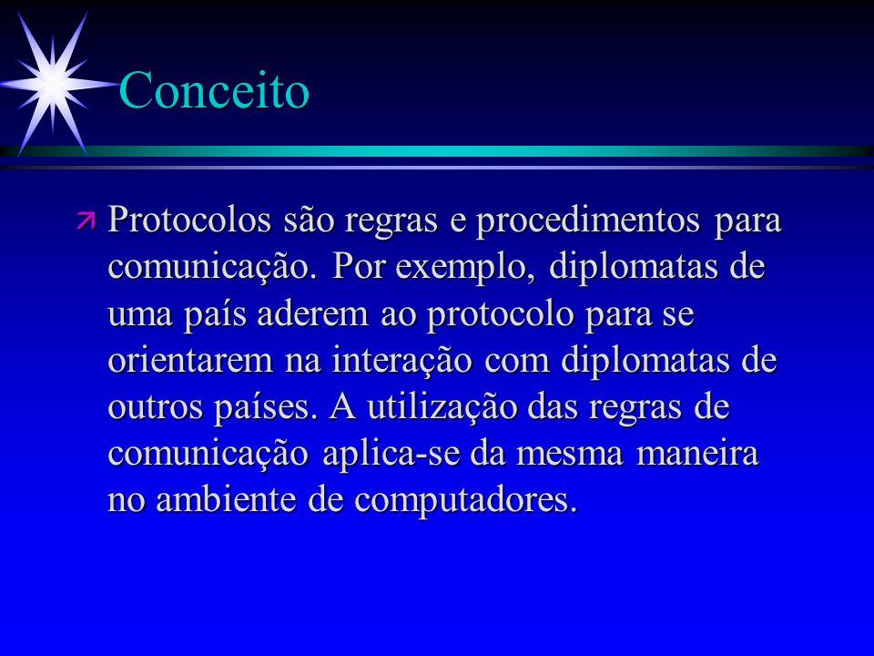 Conceito ä Protocolos são regras e procedimentos para comunicação. Por exemplo, diplomatas de uma país aderem ao protocolo para se orientarem na inter