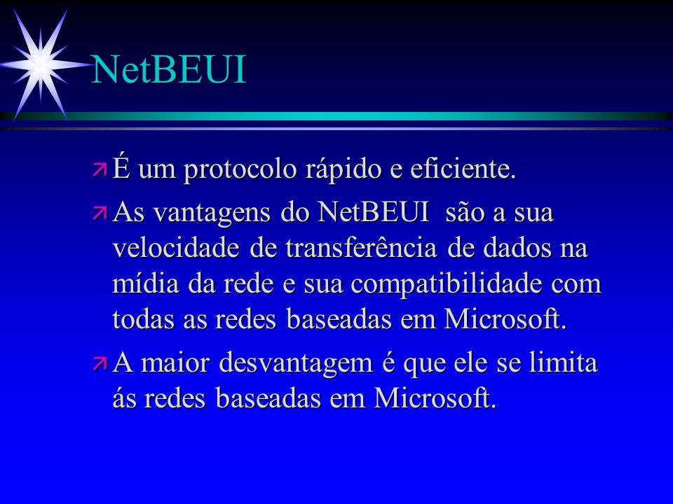 NetBEUI ä É um protocolo rápido e eficiente. ä As vantagens do NetBEUI são a sua velocidade de transferência de dados na mídia da rede e sua compatibi