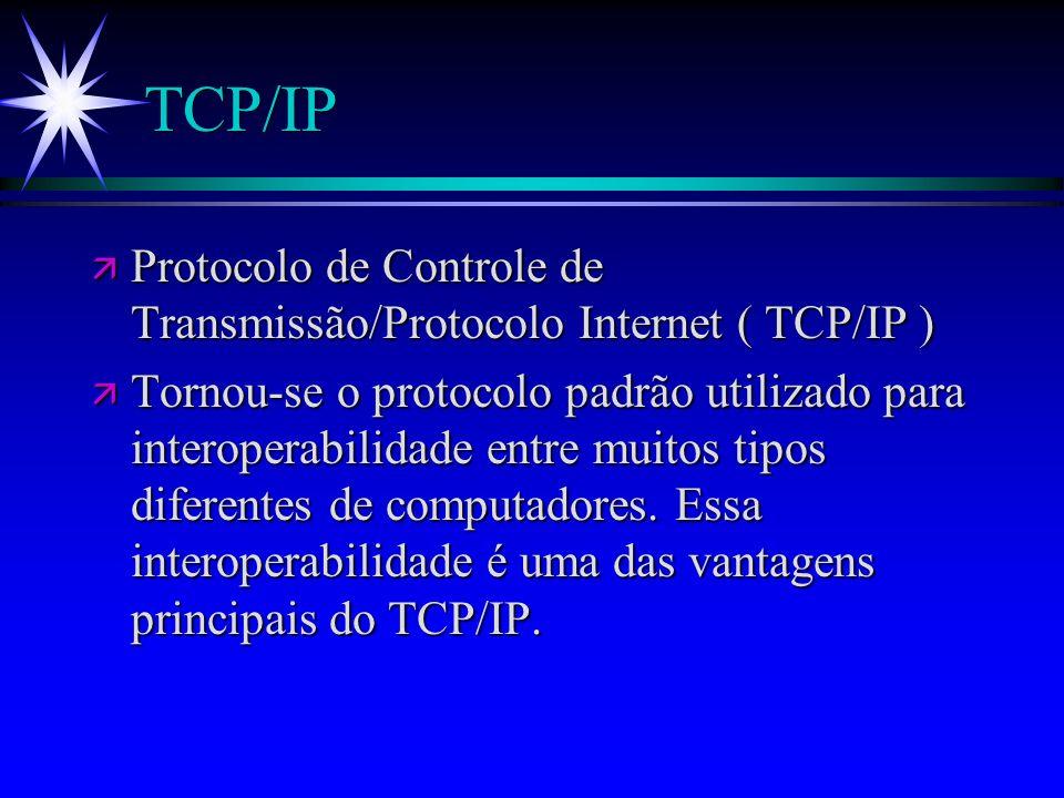 TCP/IP ä Protocolo de Controle de Transmissão/Protocolo Internet ( TCP/IP ) ä Tornou-se o protocolo padrão utilizado para interoperabilidade entre mui