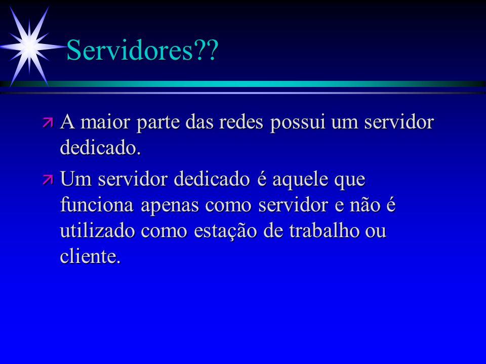 Servidores?? ä A maior parte das redes possui um servidor dedicado. ä Um servidor dedicado é aquele que funciona apenas como servidor e não é utilizad