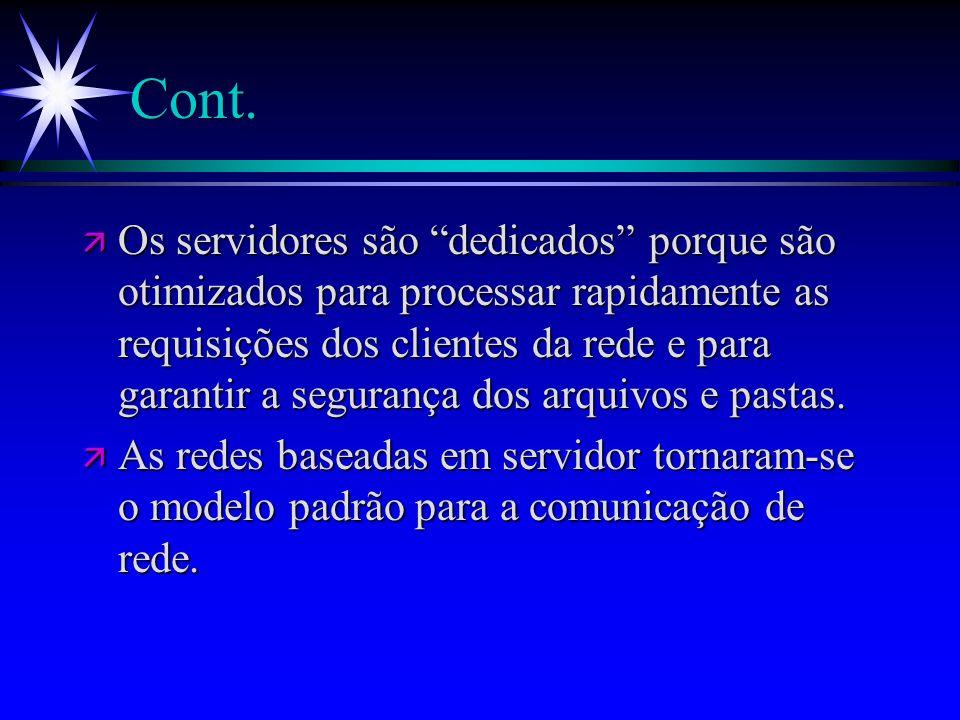 Cont. ä Os servidores são dedicados porque são otimizados para processar rapidamente as requisições dos clientes da rede e para garantir a segurança d