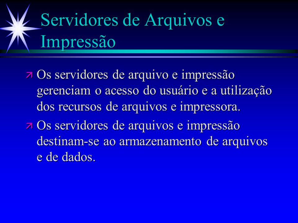 Servidores de Arquivos e Impressão ä Os servidores de arquivo e impressão gerenciam o acesso do usuário e a utilização dos recursos de arquivos e impr