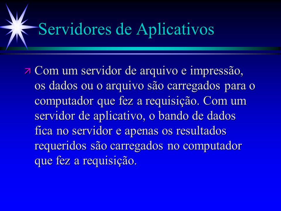 Servidores de Aplicativos ä Com um servidor de arquivo e impressão, os dados ou o arquivo são carregados para o computador que fez a requisição. Com u