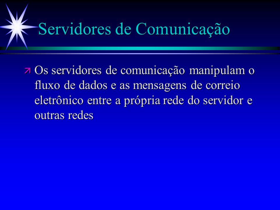 Servidores de Comunicação ä Os servidores de comunicação manipulam o fluxo de dados e as mensagens de correio eletrônico entre a própria rede do servi