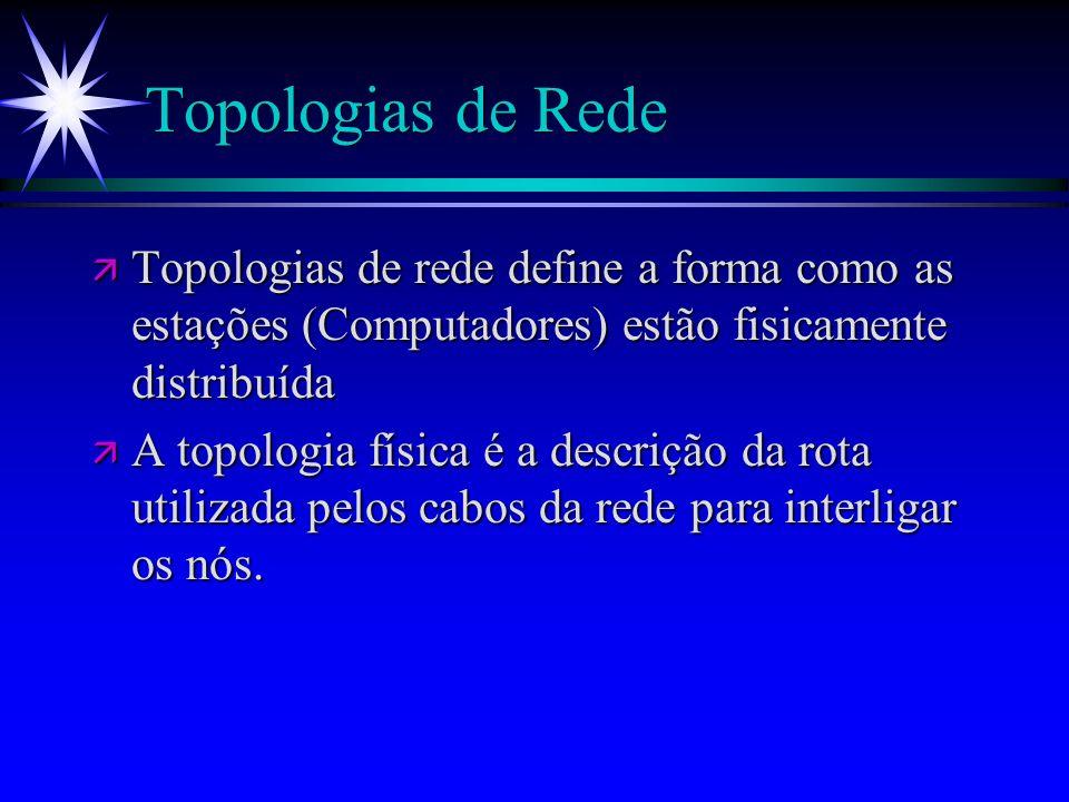 Topologias de Rede ä Topologias de rede define a forma como as estações (Computadores) estão fisicamente distribuída ä A topologia física é a descriçã