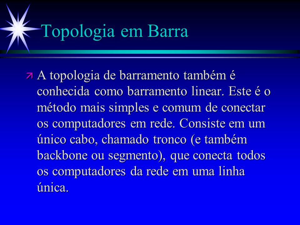 Topologia em Barra ä A topologia de barramento também é conhecida como barramento linear. Este é o método mais simples e comum de conectar os computad