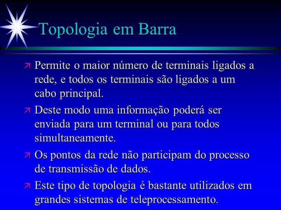 Topologia em Barra ä Permite o maior número de terminais ligados a rede, e todos os terminais são ligados a um cabo principal. ä Deste modo uma inform