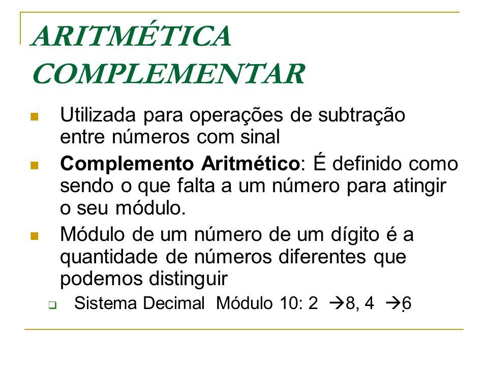 ARITMÉTICA COMPLEMENTAR Utilizada para operações de subtração entre números com sinal Complemento Aritmético: É definido como sendo o que falta a um n