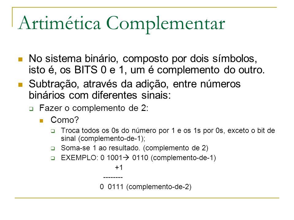 Artimética Complementar No sistema binário, composto por dois símbolos, isto é, os BITS 0 e 1, um é complemento do outro. Subtração, através da adição