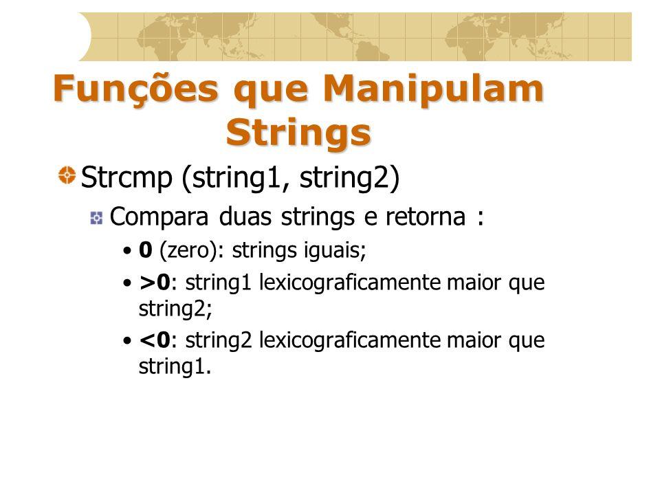 Strlen (string) Retorna o tamanho da string O terminador nulo não será contado.