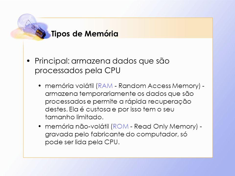 Tipos de Memória Principal: armazena dados que são processados pela CPU memória volátil (RAM - Random Access Memory) - armazena temporariamente os dad