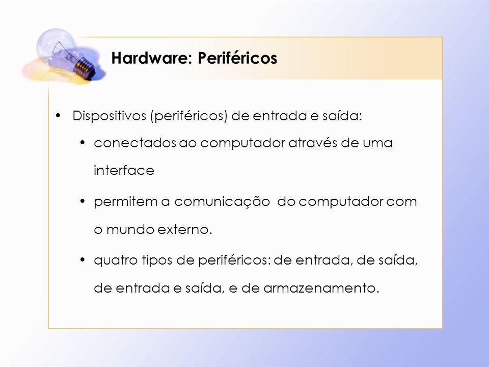 Hardware: Periféricos Dispositivos (periféricos) de entrada e saída: conectados ao computador através de uma interface permitem a comunicação do compu