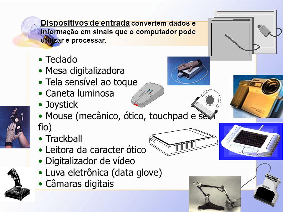 Dispositivos de entrada convertem dados e informação em sinais que o computador pode utilizar e processar. Teclado Mesa digitalizadora Tela sensível a