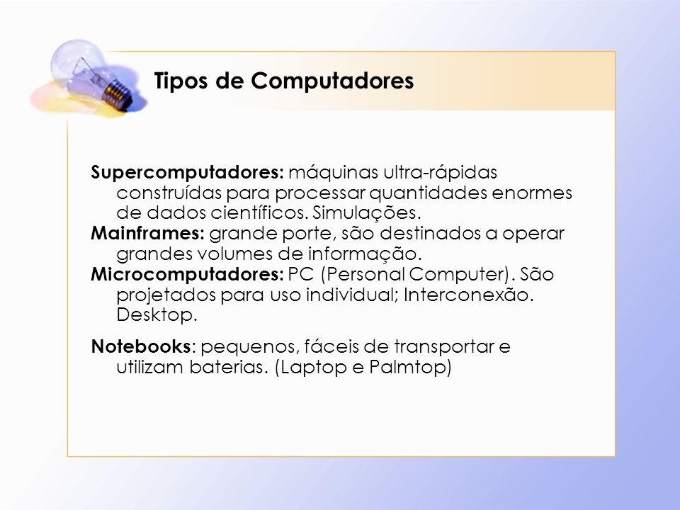 Tipos de Computadores Supercomputadores: máquinas ultra-rápidas construídas para processar quantidades enormes de dados científicos. Simulações. Mainf
