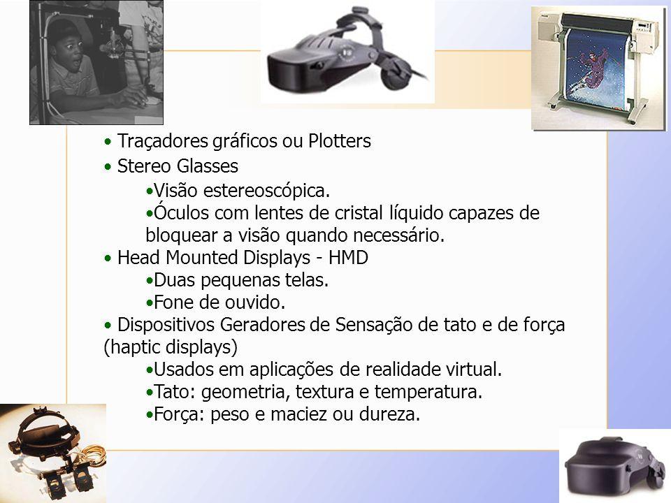 Traçadores gráficos ou Plotters Stereo Glasses Visão estereoscópica. Óculos com lentes de cristal líquido capazes de bloquear a visão quando necessári