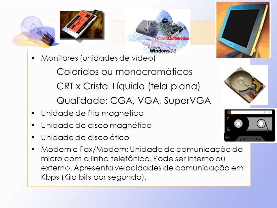 Monitores (unidades de vídeo) Coloridos ou monocromáticos CRT x Cristal Líquido (tela plana) Qualidade: CGA, VGA, SuperVGA Unidade de fita magnética U