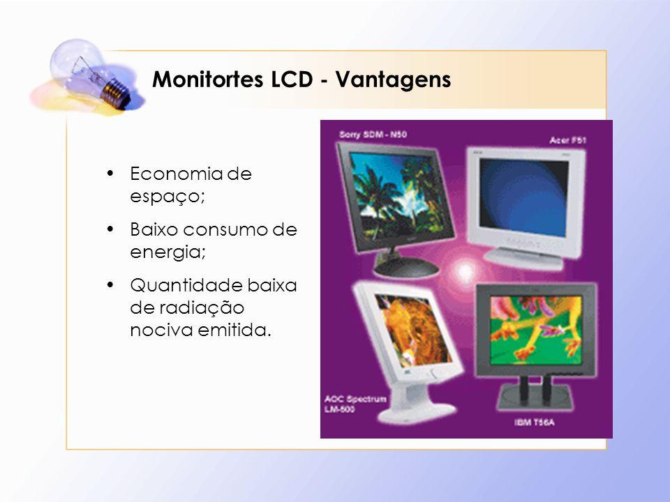 Monitortes LCD - Vantagens Economia de espaço; Baixo consumo de energia; Quantidade baixa de radiação nociva emitida.