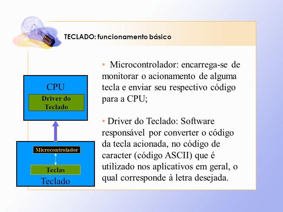 TECLADO: funcionamento básico CPU Driver do Teclado Microcontrolador Teclas Microcontrolador: encarrega-se de monitorar o acionamento de alguma tecla