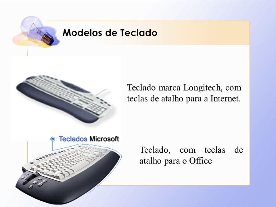 Modelos de Teclado Teclado marca Longitech, com teclas de atalho para a Internet. Teclado, com teclas de atalho para o Office