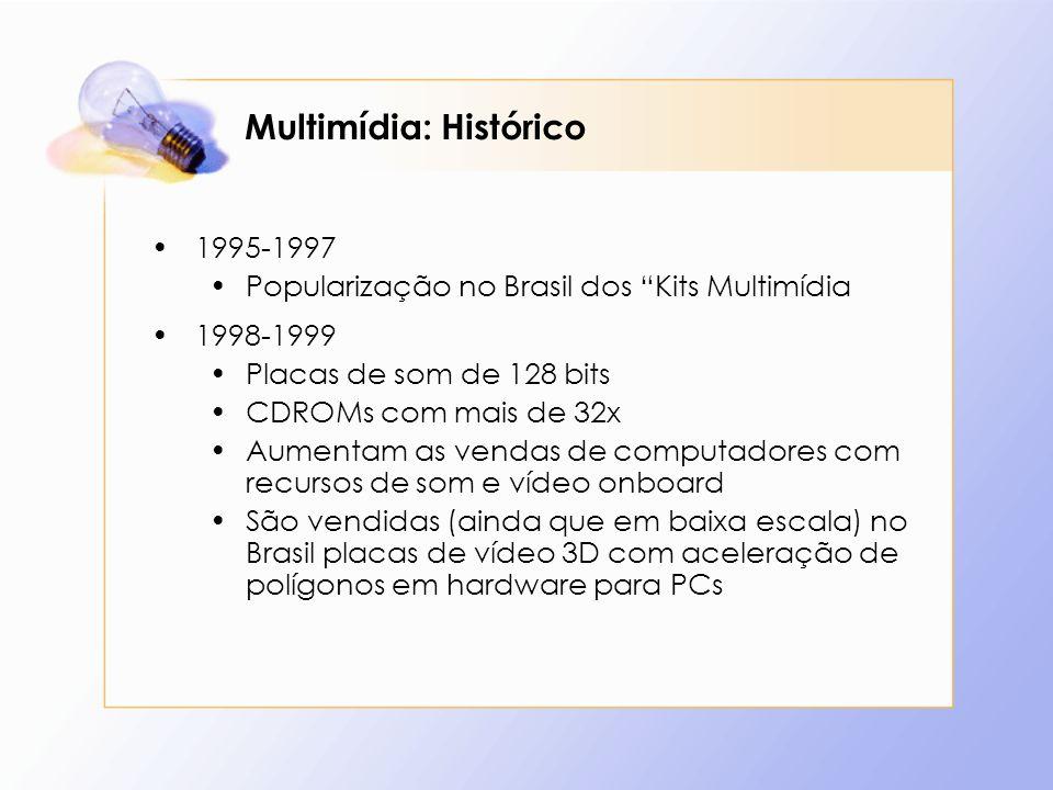 Multimídia: Histórico 1995-1997 Popularização no Brasil dos Kits Multimídia 1998-1999 Placas de som de 128 bits CDROMs com mais de 32x Aumentam as ven