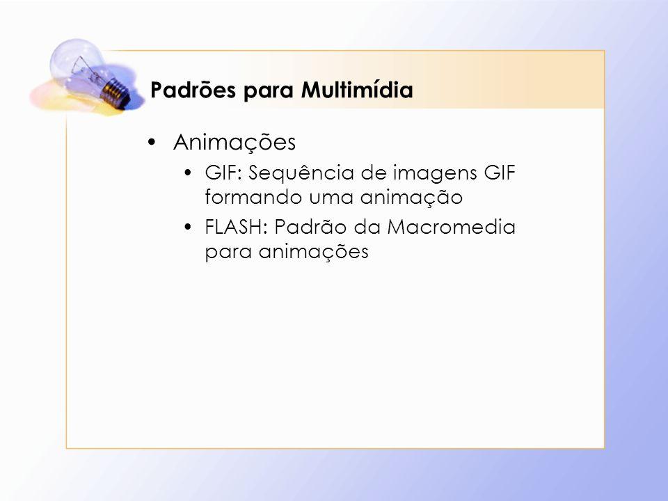 Padrões para Multimídia Animações GIF: Sequência de imagens GIF formando uma animação FLASH: Padrão da Macromedia para animações