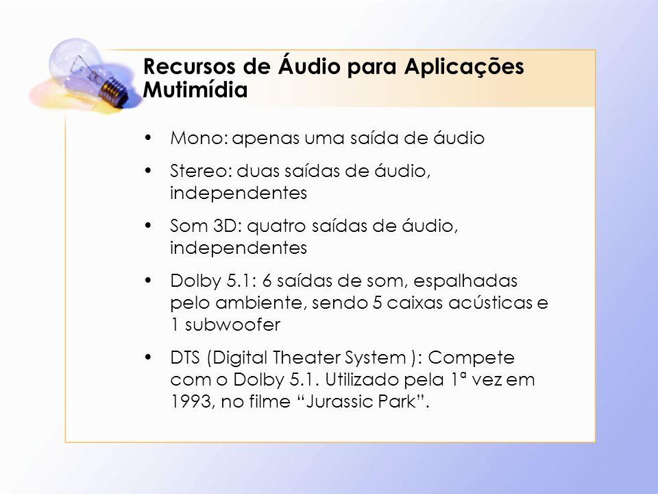 Recursos de Áudio para Aplicações Mutimídia Mono: apenas uma saída de áudio Stereo: duas saídas de áudio, independentes Som 3D: quatro saídas de áudio